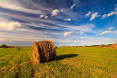 Feld mit Heuschobern bei Sonnenuntergang im Frühherbst Lizenzfreie Stockbilder