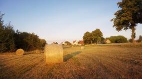Feld mit Heuschobern nach der Ernte des Weizens Stockfotos
