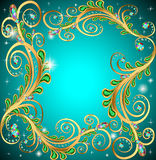 Feld mit Juwelen und geometrische Entwürfe im Gold Stockfotos