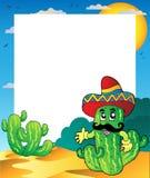 Feld mit mexikanischem Kaktus Stockbild