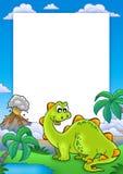 Feld mit nettem Dinosaurier Lizenzfreies Stockbild