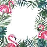 Feld mit rosa Flamingo und Palmblättern Dekoratives Bild einer Flugwesenschwalbe ein Blatt Papier in seinem Schnabel stock abbildung