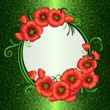 Feld mit roten Mohnblumen und grünen dem Damast kopiert Vektor Abbildung