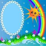 Feld mit Sonnebasisrecheneinheit und -regenbogen Lizenzfreie Stockfotografie