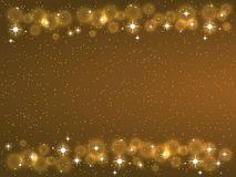 Feld mit Sternen auf dem dunklen Hintergrund, goldene Symbole der Scheine - spielen Sie Funkeln, Sternaufflackern die Hauptrolle Stockbild