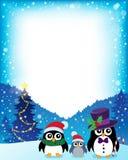 Feld mit stilisierten Weihnachtspinguinen 1 Stockfotografie