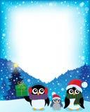 Feld mit stilisierten Weihnachtspinguinen 2 Lizenzfreie Stockfotos