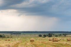 Feld mit Stroh rollt an einem Sommertag Lizenzfreies Stockbild