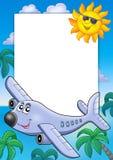 Feld mit Sun und Flugzeug Stockfotografie