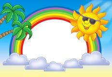 Feld mit Sun und Regenbogen Lizenzfreie Stockfotos