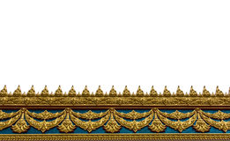 Feld mit thailändischem Kunstwandmuster in Thailand-Tempel Stockbild