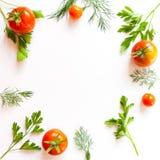 Feld mit Tomate und Kräutern Stockfoto