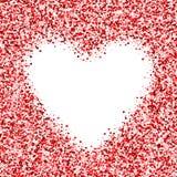 Feld mit vielen Inneren Gruß des roten Rahmens Grenzkonfettis für Valentinsgruß ` s Tag Lizenzfreie Stockfotografie