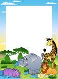 Feld mit vier afrikanischen Tieren Stockfotos