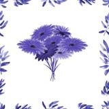 Feld mit violettem Laub und violetter Blumenstrauß auf einem weißen Hintergrund Nahtloses Muster des Aquarells Stockfotografie