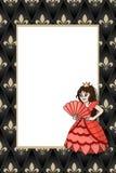 Feld mit Zeichentrickfilm-Figur-Prinzessin auf dem mittelalterlichen Hintergrund