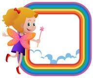 Feld Schablone mit feenhaftem Fliegen auf dem Regenbogen Stockbild