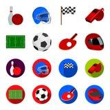 Feld, Stadion mit Markierungen für das Spielen des Fußballs, Fußballball, Schläger mit einem Ball für Tischtennis, Schutzhelm Stockbilder