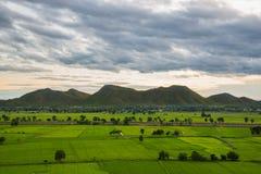 Feld- und Gebirgslandschaft Stockbild
