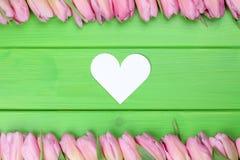 Feld von den Tulpen blüht mit Herzen auf Müttern oder dem d des Valentinsgrußes Stockbilder