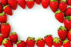 Feld von der Gruppe Erdbeeren, lokalisiert auf weißem Hintergrund Lizenzfreies Stockbild