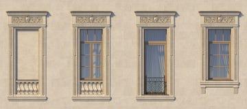 Feld von Fenstern in der klassischen Art auf dem Stein Wiedergabe 3d Lizenzfreies Stockfoto