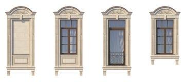 Feld von Fenstern in der klassischen Art auf dem Stein Wiedergabe 3d Stockfotos
