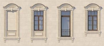 Feld von Fenstern in der klassischen Art auf dem Stein Wiedergabe 3d Stockbild
