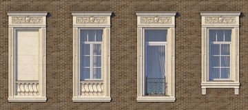 Feld von Fenstern in der klassischen Art auf der Backsteinmauer der braunen Farbe Wiedergabe 3d Lizenzfreie Stockfotos