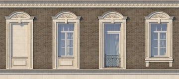 Feld von Fenstern in der klassischen Art auf der Backsteinmauer der braunen Farbe Wiedergabe 3d Stockbilder