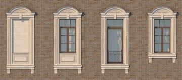 Feld von Fenstern in der klassischen Art auf der Backsteinmauer der braunen Farbe Wiedergabe 3d Stockfoto