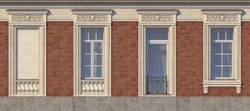 Feld von Fenstern in der klassischen Art auf der Backsteinmauer der roten Farbe Wiedergabe 3d Stockbild