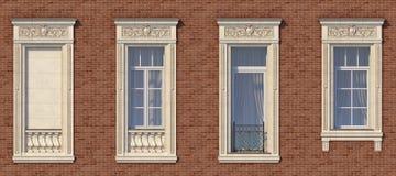 Feld von Fenstern in der klassischen Art auf der Backsteinmauer der roten Farbe Wiedergabe 3d Lizenzfreie Stockfotografie