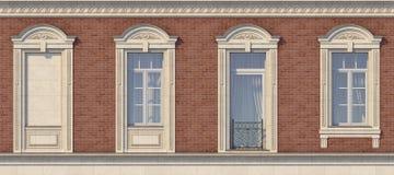 Feld von Fenstern in der klassischen Art auf der Backsteinmauer der roten Farbe Wiedergabe 3d Lizenzfreie Stockbilder