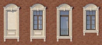 Feld von Fenstern in der klassischen Art auf der Backsteinmauer der roten Farbe Wiedergabe 3d Lizenzfreie Stockfotos