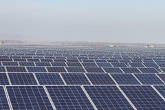 Feld von grüne Energie-photo-voltaischen Sonnenkollektoren Stockbild