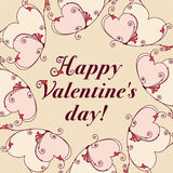 Feld von Herzen für Design Valentinsgrußtagesmitteilung Lizenzfreies Stockbild