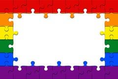 Feld von homosexuellem Pride Flag Jigsaw Puzzle Pieces mit Kopien-Raum, Illustration 3d lizenzfreie abbildung
