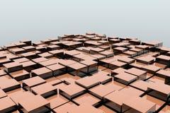 Feld von orange Würfeln 3d 3d übertragen image Lizenzfreie Stockfotografie