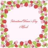 Feld von Rosen und von Tulpen Stockbilder