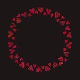 Feld von roten Herzen auf schwarzem Hintergrund Stockfotografie