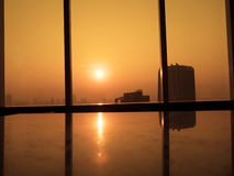 Feld von roten Mohnblumen Schattenbilder des Glasfensters mit orange Sonnenaufganghintergrund Ansicht vom hohen Bürogebäude Lizenzfreie Stockfotografie