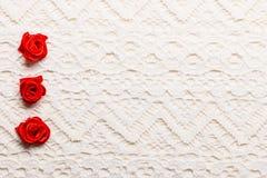 Feld von roten silk Rosen auf Spitze Lizenzfreies Stockfoto