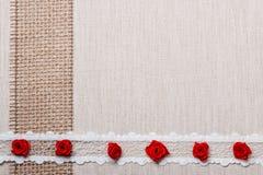 Feld von roten silk Rosen auf Stoff Stockbilder