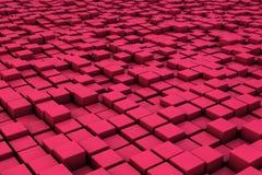 Feld von roten Würfeln 3d 3d übertragen image Stockfotografie