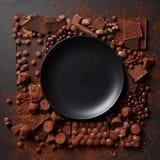 Feld von Schokoladen mit Platte Stockbild