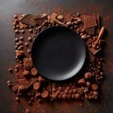 Feld von Schokoladen mit Platte Lizenzfreie Stockbilder