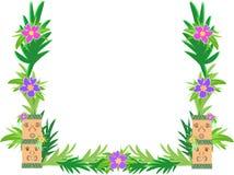 Feld von Tiki und von Hibiscus-Blumen stock abbildung