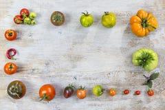 Feld von verschiedene verschiedene Farborganischen selbstgezogenen Tomaten auf altem hölzernem gemaltem Hintergrund Hintergrund m Stockbilder