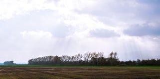 Feld zwischen dem Treffen mit zwei Flüssen Stockfotografie
